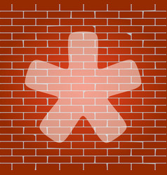 Asterisk star sign whitish icon on brick vector