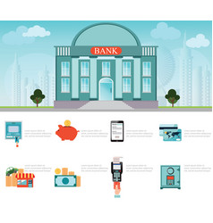 Bank building exterior on cityscape vector
