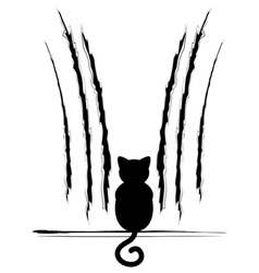 Black cat silhouette with scratches5 vector
