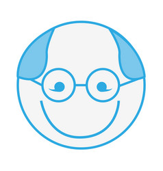 Blue round grandfather man face cartoon vector