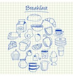 breakfast doodles squared paper vector image