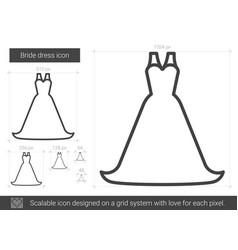 bride dress line icon vector image