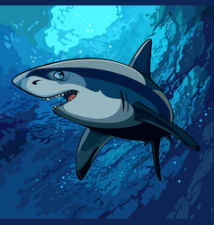 cartoon shark swimming underwater in the blue sea vector image