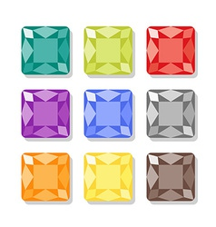 Cartoon square gems icons set vector image