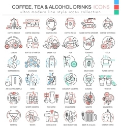 coffee tea alcohol drinks color line vector image vector image