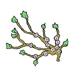 comic cartoon flowering branch vector image