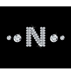 Diamond alphabetic letter N vector image