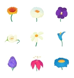 Different flowers icons set cartoon style vector