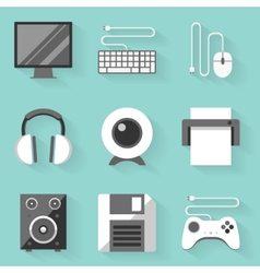 Flat icon set Computer White style vector image vector image