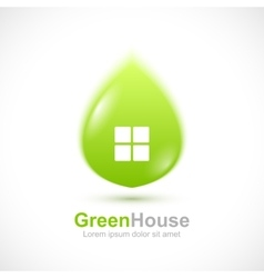 Green leaf house concept icon vector