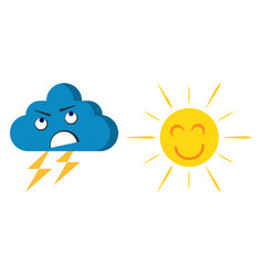 Happy cheerful sun and angry cloud vector