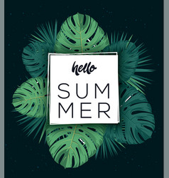 hello summer poster tropic leaves tropic vector image vector image