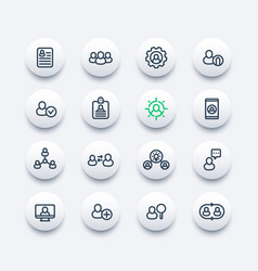 Human resources and management line icons set vector
