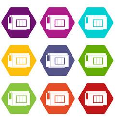 inkjet printer cartridge icon set color hexahedron vector image vector image