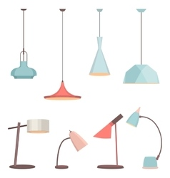 Lamps sign set for interior electricity floor vector