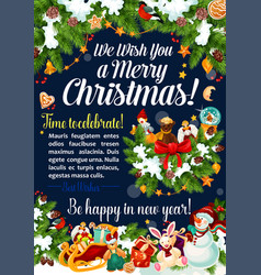 merry christmas celebration greeting card vector image vector image