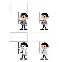 office men with blank sign vector image