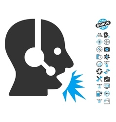 Operator Speech Icon With Copter Tools Bonus vector image vector image