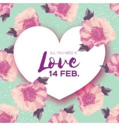 Peony flowers heart frame 14 february happy vector