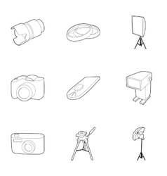 Photography icons set outline style vector