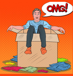 pop art stressed man in the box with clothes vector image