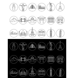 Popular travel landmarks icons vector image