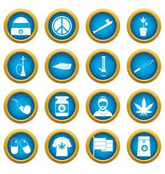 Rastafarian icons blue circle set vector