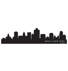 Salt Lake City Utah skyline Detailed city silhouet vector image