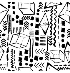 Seamless geometric hand drawn pattern in retro vector image vector image
