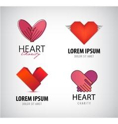 set of hearts logos charity vector image