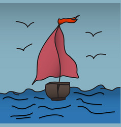 Ship with scarlet sails is floating on the waves vector