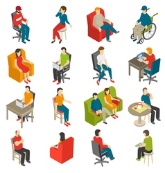 Sitting people isometric icon set vector