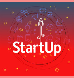 startup concept different thin line icons included vector image