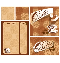 Template designs of menu and business card for cof vector
