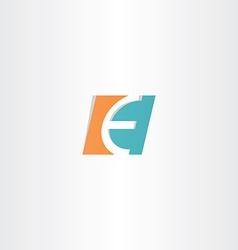 Turquoise orange letter e logo icon element vector