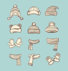 Vintage style winter accessories set vector