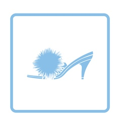 Woman pom-pom shoe icon vector