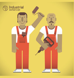 Workers with tools vector