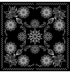 Bandana print with black and white elements vector