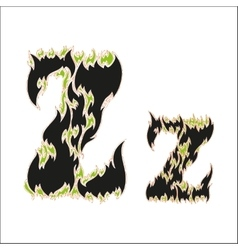 Fiery font black and green letter z on white vector