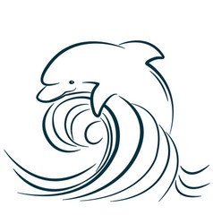 dolphin jumping in water wave isolated vector image