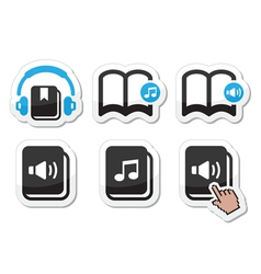 Audiobook icons set vector