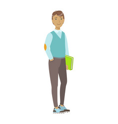 smiling college student standing and holding book vector image