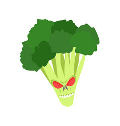 Angry broccoli aggressive green vegetable vector