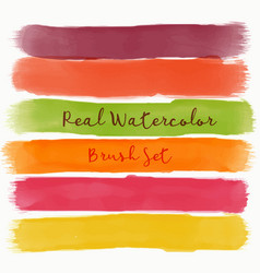 Set of real watercolor brush with warm colors vector