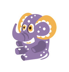 Adorable cartoon elephant character sitting on a vector