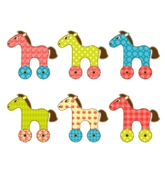 Set of patchwork horses 1 vector