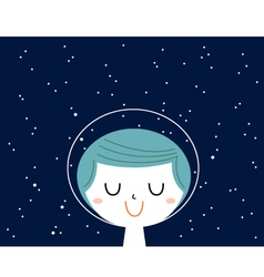 Little astronaut boy with stars background behind vector