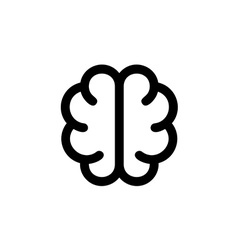 Simple brain icon solid contour line style top vector