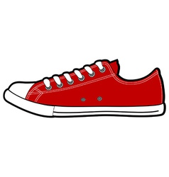Isolated modern low red sneakers vector